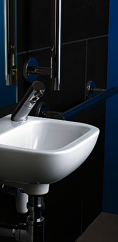 Armitage Shanks white wash basin and handrails